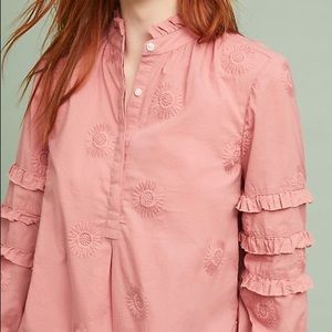 Anthropologie | Floral Embroidered Ruffle Top S